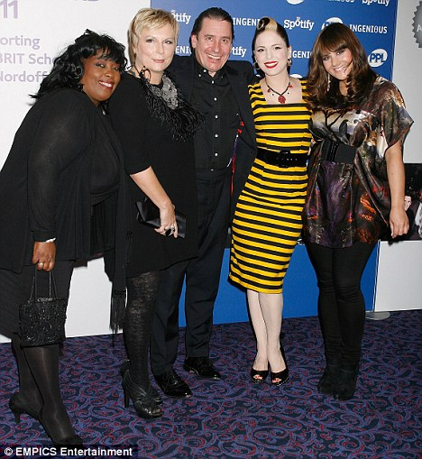 Spotlight: Miss Saunders was out supporting close friend Jools Holland at the Music Industry Trust Awards at the Grosvenor House Hotel in London. They are pictured with Ruby Turner (far left), Imelda May (second right) and Rumer (far right)