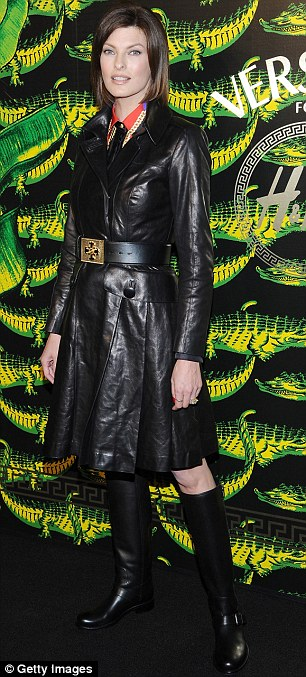 Alluring: Model Helena Christensen opted for a black and gold number while model Linda Evangelista donned a leather trench coat