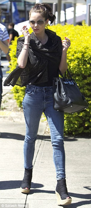 Joining camp: Jessica was pictured at Brisbane Airport on Tuesday after landing in Australia