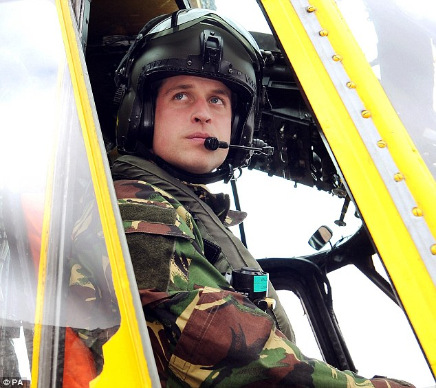 Keen to go: Prince William at the controls of a Sea King helicopter, which he will be co-piloting on a six-week tour of the Falklands early next year