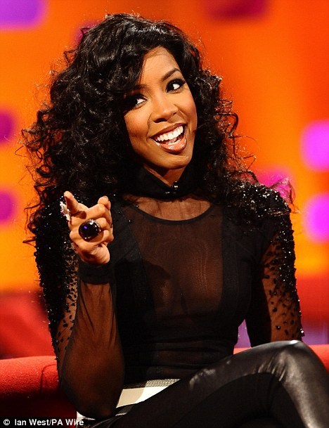 Pointing the finger: Kelly is all smiles as she chats to Graham Norton