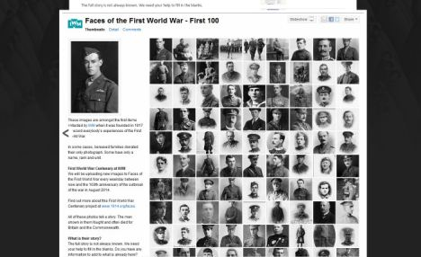 Online remembrance: A new face will be added every day between now and the actual 100th anniversary in August 2014