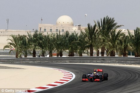 On track: Lewis Hamilton in Bahrain in 2010