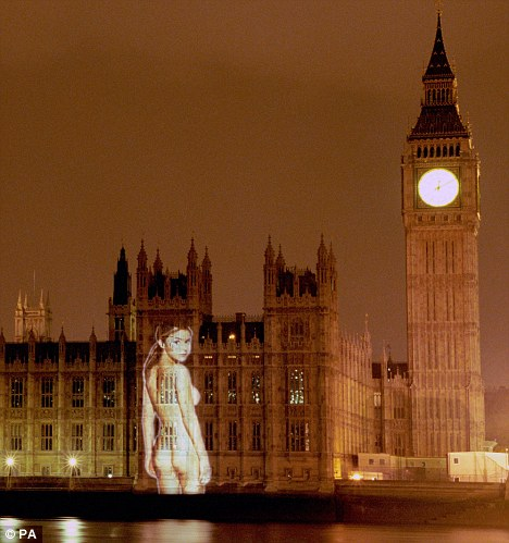 Infamous: A large image of Gail Porter was projected on the Houses of Parliament in 1999 to promote FHM magazine's 100 hottest women poll