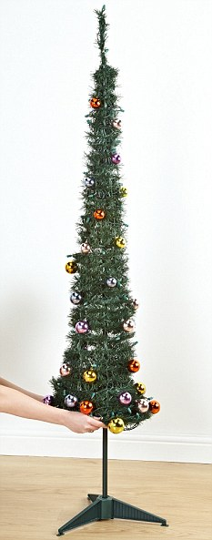 Christmas convenience: Asda's instant tree takes seconds to put up and comes with baubles attached