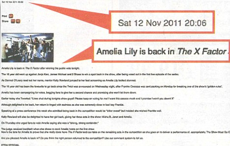 Suspicious: Message on the official X-factor website revealing Amelia Lily was back in the finals - an hour before the lines closed