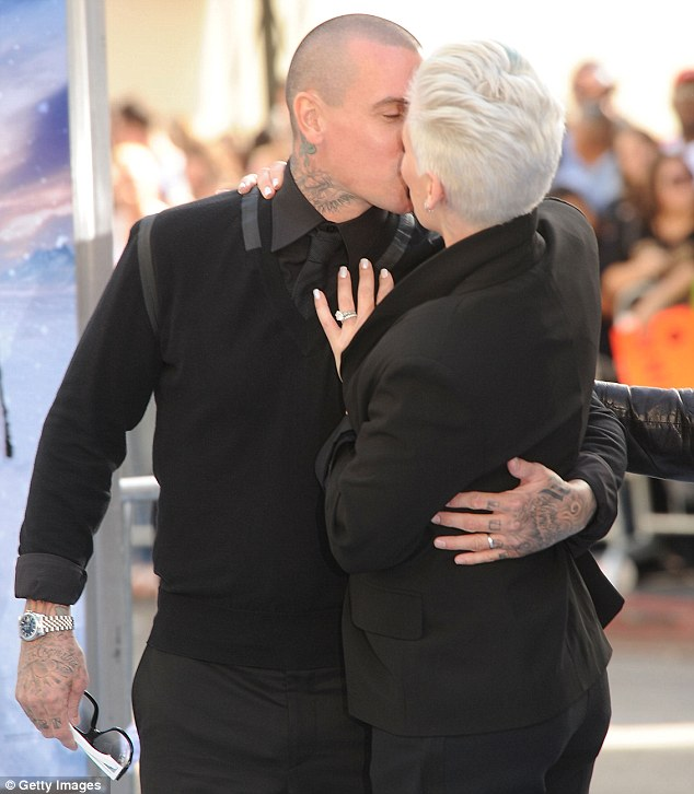 So in love: Pink and Carey took some time out for some tender moments