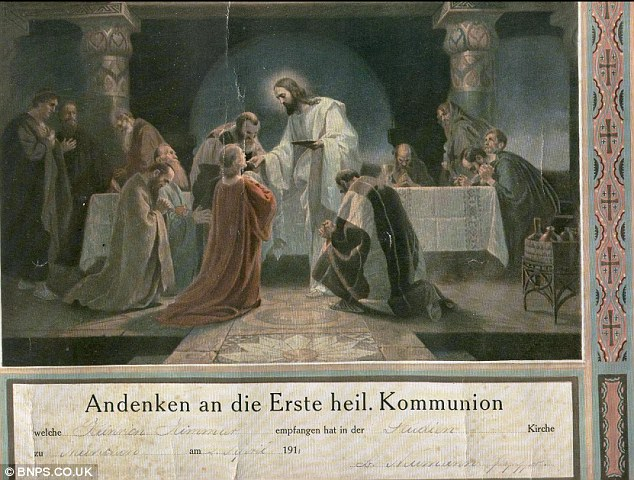 Historical: Heinrich Himmler's communion certificate which was taken from the Nazi's holiday home and is now for sale