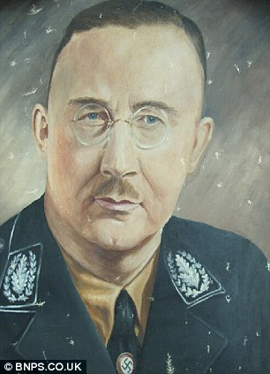 For sale: An official Himmler painting which belonged to the daughter of    Lieutenant Richard J Wills who was tasked with remodelling Himmler's home in the Alps