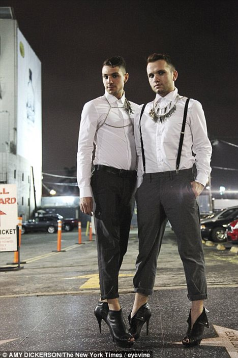 Suits you, sir: Mark Cramer, left, and Coy Barton choose to wear heels as they find the conventional offerings for men so dull. Far from drag, men are choosing heels for the same reason as women - to feel good
