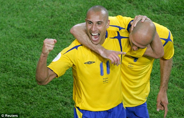Leaving it late: Henrik Larsson celebrates his equaliser against England at the 2006 World Cup