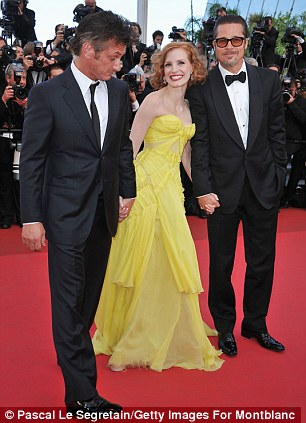 Jessica on the Cannes red carpet  in May with her Tree of Life co-stars