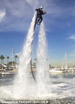 Getting closer: Using jetpacks used to be the hobby of the rich and famous only, but the price is starting to come down on using the amazing technology