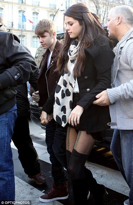 Standing by her man... or boy: Bieber's girlfriend Selena Gomez, pictured in Paris last week, has been supportive