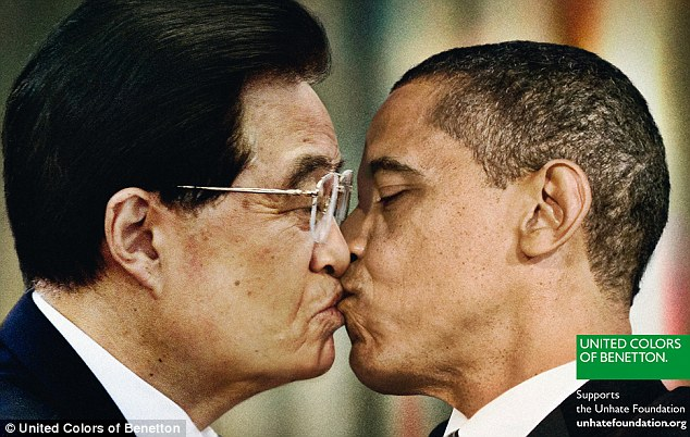 Combating hatred: Benetton hope the controversial images will help create tolerance around the world. This picture shows China's leader Hu Jintao and Barack Obama