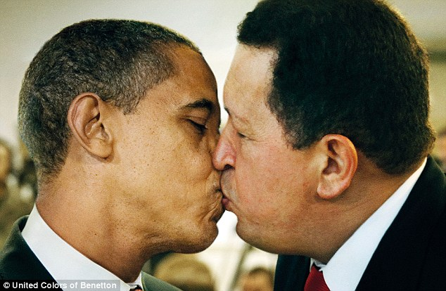 Edgy: This image as part of Benetton's Unhate Campaign shows U.S. President Barack Obama and Venezuelan President Hugo Chavez kissing