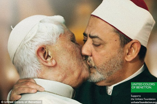 Controversial: This mocked-up image of the Pope embracing Ahmed Mohamed el-Tayeb as part of Benetton's new advertising campaign has been called 'totally unacceptable' by the Vatican