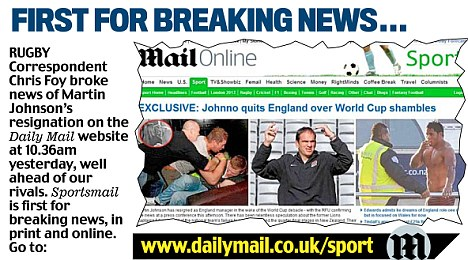 First with the news: How Sportsmail broke Johnno's departure