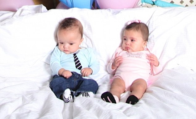 Suited and booted: Moroccan was dressed in blue with dinky tie while Monroe was pretty in pink