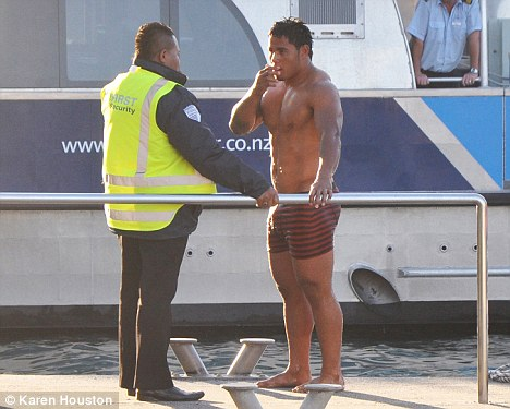 Flashpoints: Tuilagi's dip in Auckland harbour (above) and Tindall's drunken antics (below)