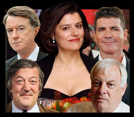 From left to right: Peter Mandelson, Miriam Clegg, Simon Cowell, Chris Patten and Stephen Fry