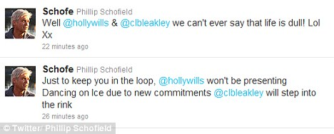 Warm welcome: Schofield tweeted about the unexpected announcement