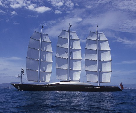Lavish: Miss Ambrosiadou spent a reported £60m on the world's biggest private sailing yacht - The Maltese Falcon (pictured)