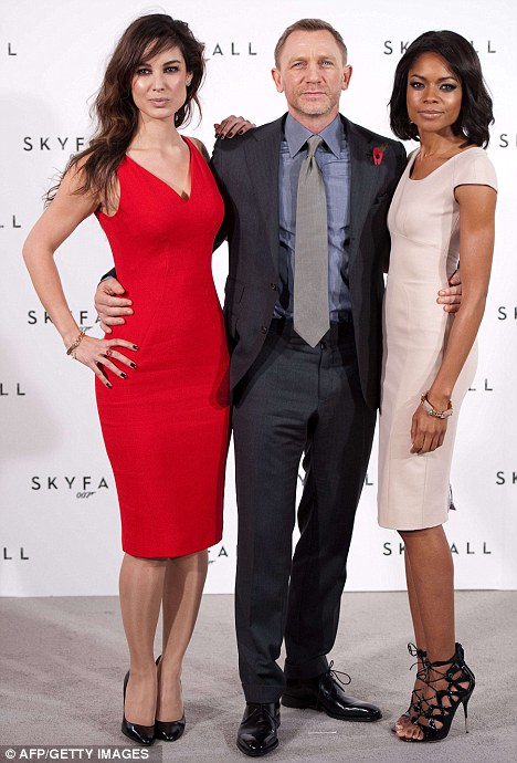 His leading ladies: Craig at the press conference with French actress Berenice Marlohe and British actress Naomie Harris