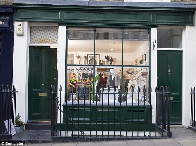 Sought-after: The exterior of Suzannah Crabb's West London shop where she sells British fashion designs