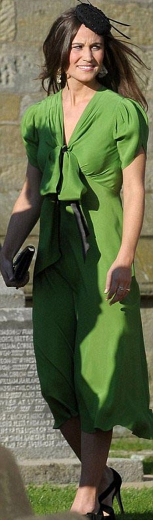 Pippa wearing the emerald silk crepe de chine day dress (£405) to a wedding in September