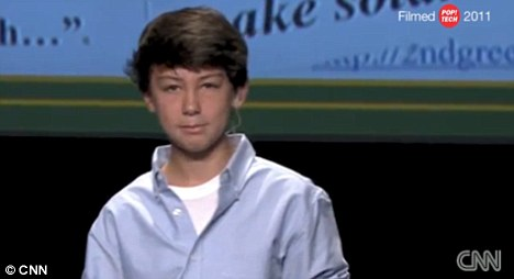 Boy genius: Aidan recently had the distinction of being the youngest presenter at the 2011 PopTech conference last month where he had the chance to discuss his ideas