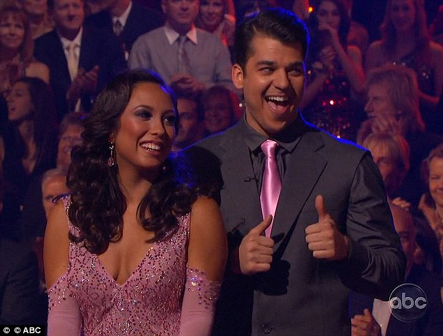 Thumbs up: Rob and his professional dance partner Cheryl Burke after their waltz