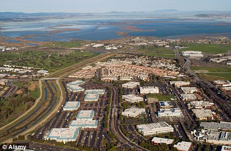 Aerial view taking in offices in Silicon Valley, northern California