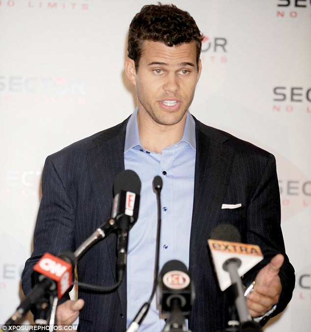 Keeping busy: Kim's estranged husband Kris Humphries in New York yesterday launching a new deal with watch brand Sector