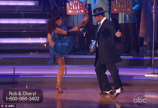 Fancy footwork: Rob and Cheryl performing their freestyle, which won them their perfect score
