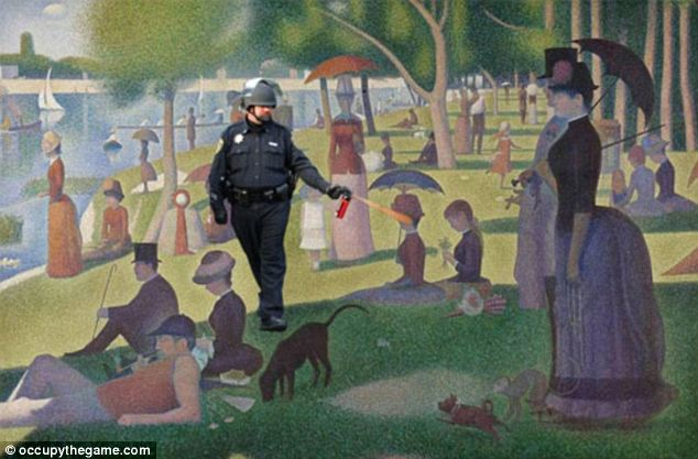 Artistic interpretation: Occupy protesters have uploaded Lt. John Pike's photo into famous images