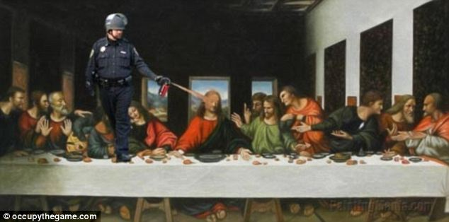 The Last Supper: Even Jesus isn't spared from Mr Pike's spray in this Photoshoped meme
