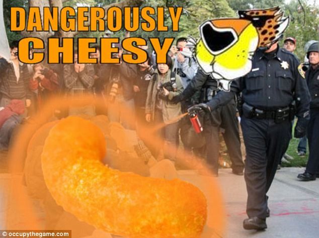 Cheesy for sure: The Cheetos spokesman stopped by the California campus as well