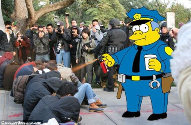 Light attitude: Chief Wiggum from The Simpsons made an appearance on the UC-Davis campus