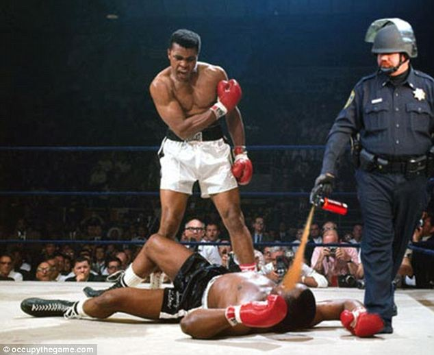 Stings like a bee: Both Mohammed Ali and Lt. Pike take Sonny Liston down in this famous image