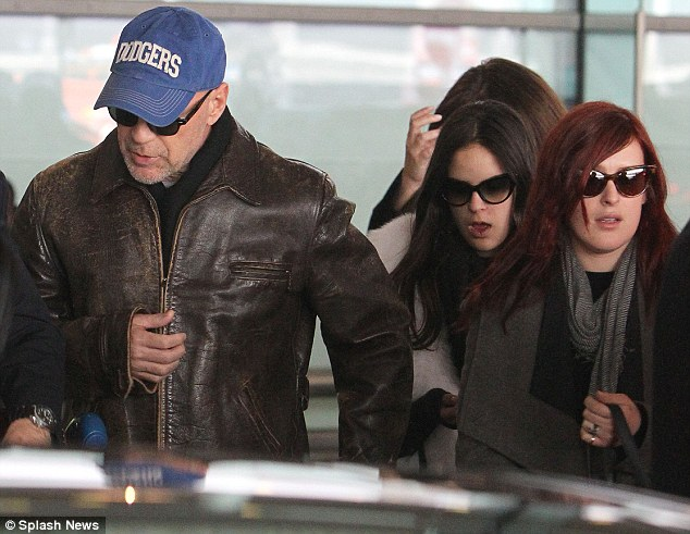 Jet set: Bruce, Rumer and Tallulah are missed spending Thanksgiving in the U.S. to make the trip