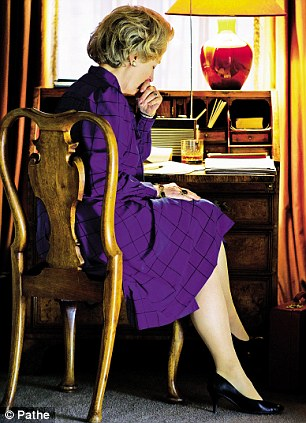 Meryl Streep as Margaret Thatcher, contemplating the repercussions over the sinking of the Belgrano during the Falkands War