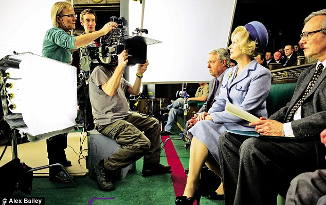 Director Phyllida Lloyd prepares a scene on the House of Commons set