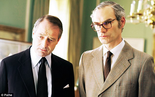Foreign Secretary Francis Pym, played by Julian Wadham, and (on right) Defence Secretary John Nott, played by Angus Wright