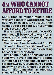 More than six million middle-aged workers expect to work into their late 60s or 70s