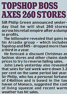 Sir Philip Green announced yesterday 260 shops across his retail empire will close