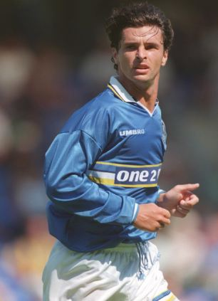 Gary Speed, who was found dead at his home today, playing for Everton