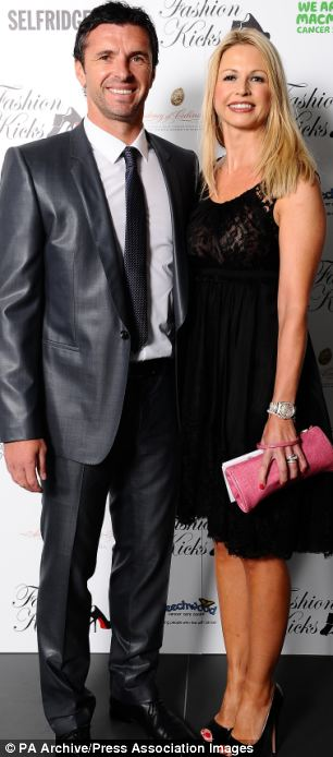 Gary Speed, with his wife Louise, earlier this year at Shay Given's Fashion Kicks event held at Lancashire County Cricket Club