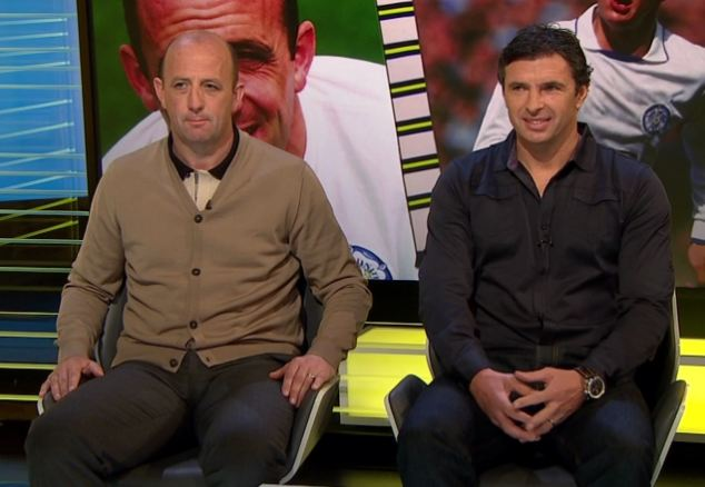 Pundit: Gary appearing on Football Focus with Gary McAllister hours before he was found dead. The Welsh national manager had appeared happy and optimistic