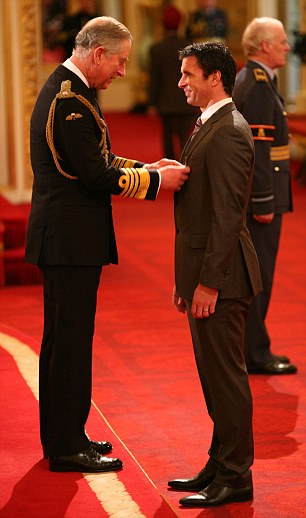 Tragic Gary Speed receiving his MBE from Prince Charles in December last year